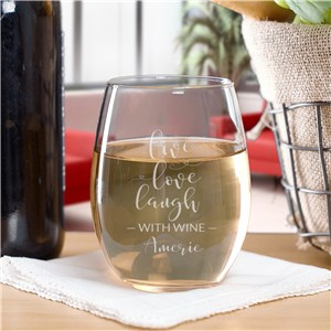 Personalized Live Love Laugh Stemless Wine Glass | Personalized Stemless Wine Glasses