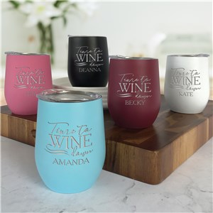 Engraved Stemless Wine Tumbler | Personalized Time to Wine Down Tumbler