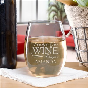 Personalized Time To Wine Down Stemless Wine Glass | Personalized Stemless Wine Glasses