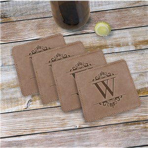 Personalized Initial Leather Coasters | Personalized Coasters