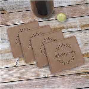 Personalized Floral Wreath Leather Coasters | Personalized Coasters