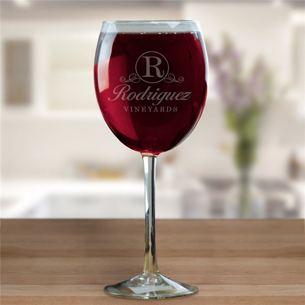 Personalized Vineyard Red Wine Glass L13277RD