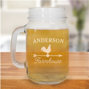 Engraved Farmhouse Mason Jar | Personalized Mason Jars With Handles