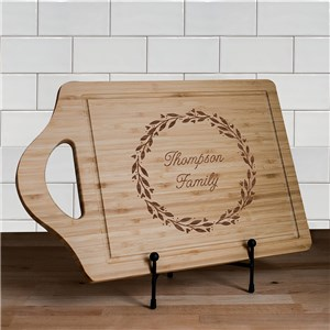 Engraved Wreath Family Name Cutting Board | Personalized Cutting Boards