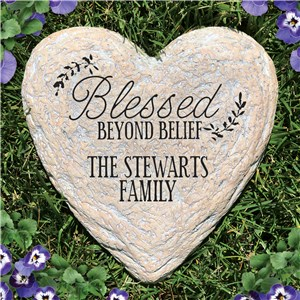 Personalized Blessed Beyond Belief Heart Garden Stone | Personalized Garden Stone