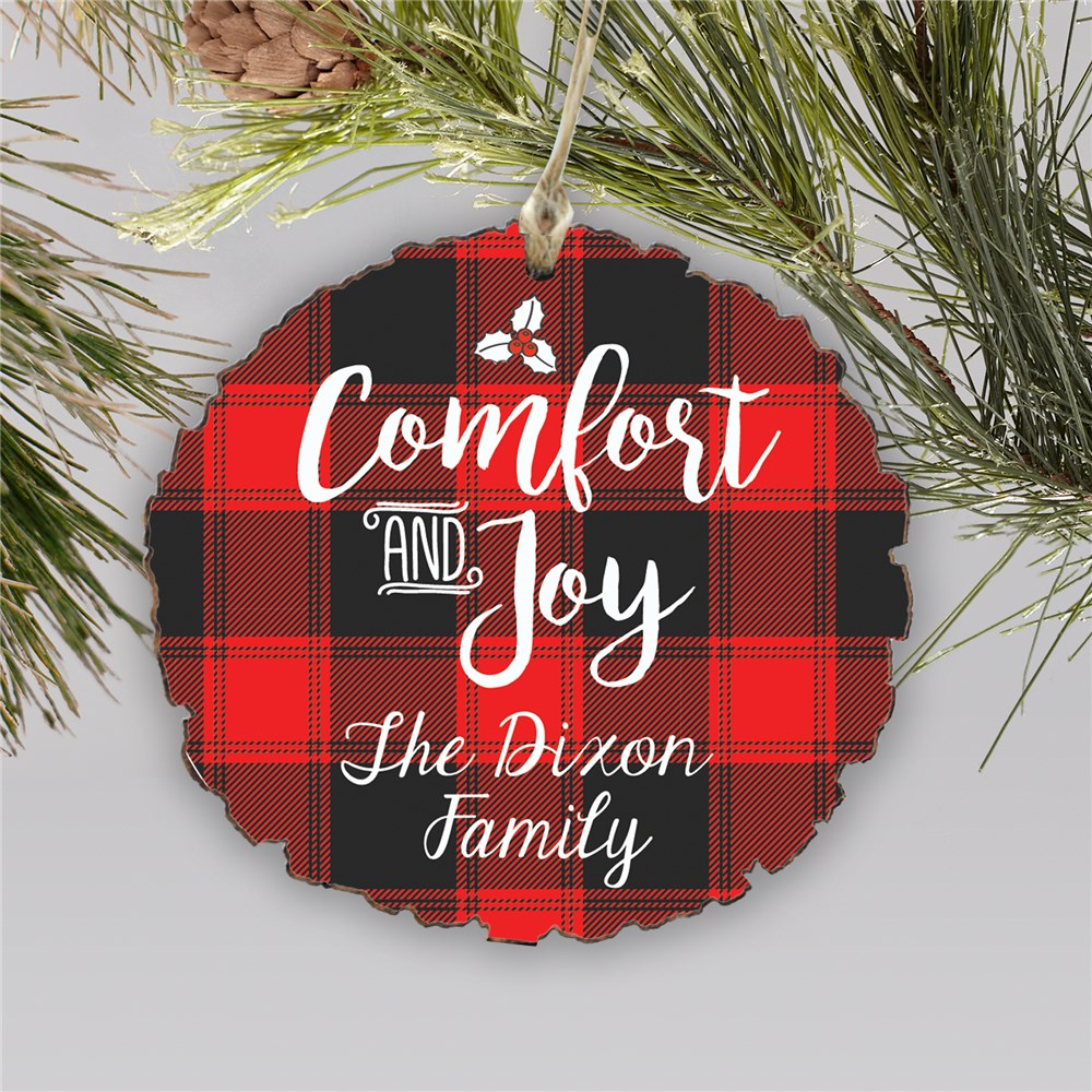 Personalized Comfort And Joy Round Barky Ornament | Personalized Plaid Christmas Ornaments