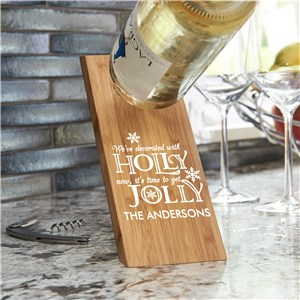 Holly Jolly Wine Bottle Holder | Personalized Holly Jolly Bamboo Bottle Holder