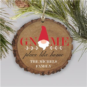 Gnome Place Like Home Rustic Personalized Ornament | Christmas Gnome Ornaments