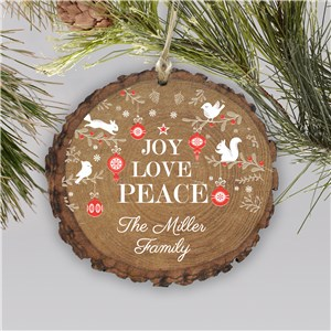 Joy Love Peace Barky Personalized Ornament | Rustic Christmas Ornament