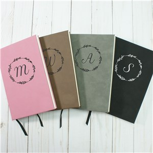 Initial In Wreath Personalized Leather Journal | Leather Notebook