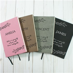Personalized Leaves with Sentiment Leather Journal