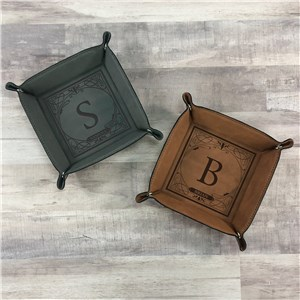 Personalized Leather Trays | Valet Tray With Initial