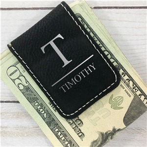 Engraved Money Clips | Leather Initial Money Clip