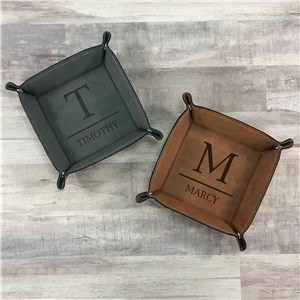 Personalized Initial Over Name Leather Snap Tray L13580275X