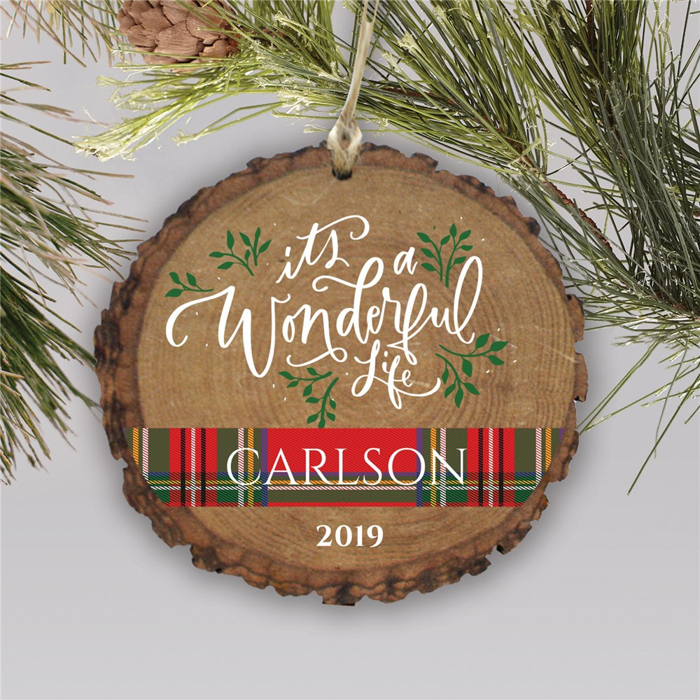Its A Wonderful Life Round Barky Personalized Ornament | Rustic Christmas Ornaments