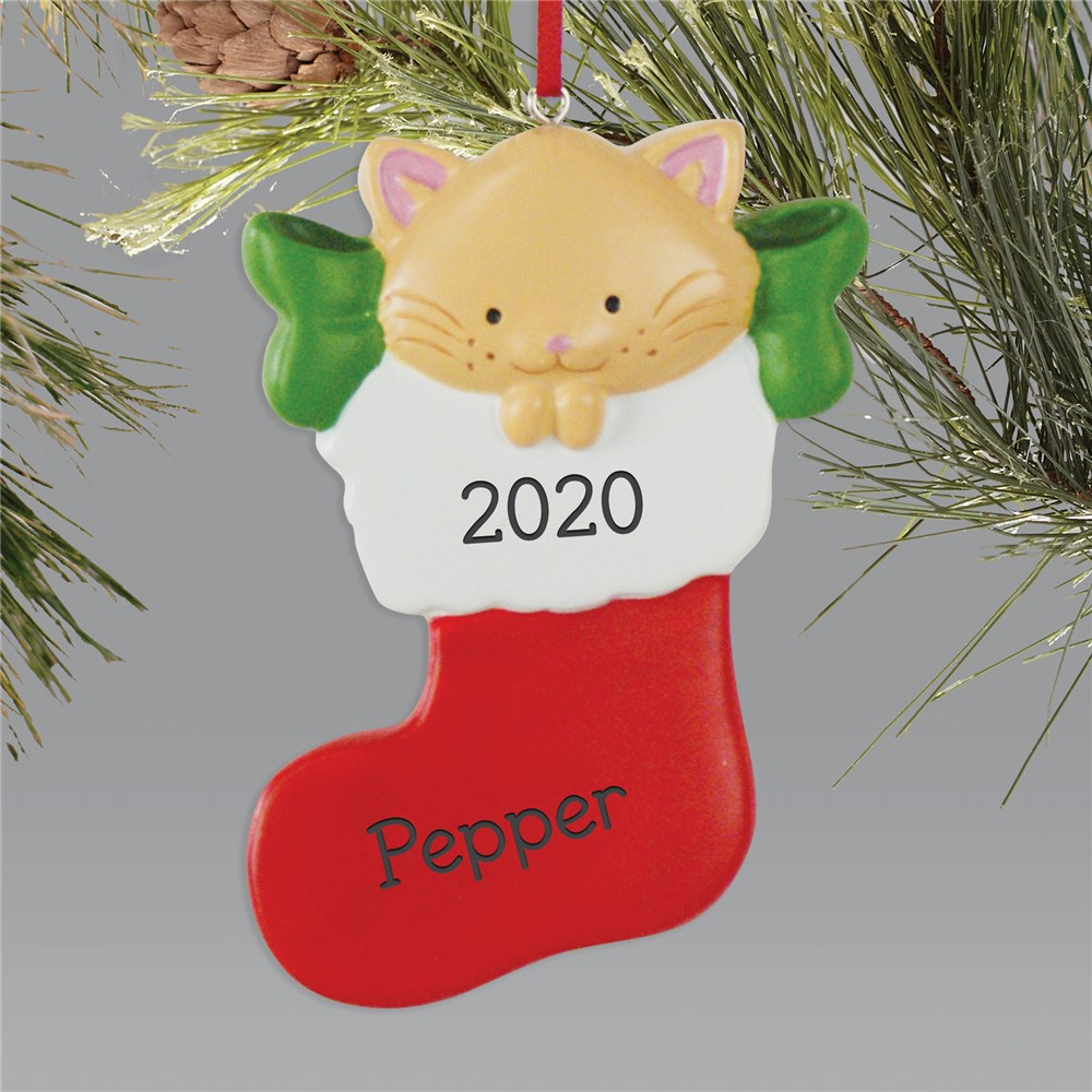 Cat Stocking Christmas Ornament | Pet Christmas Ornament