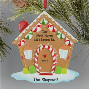 Personalized Gingerbread House Ornament L13606242