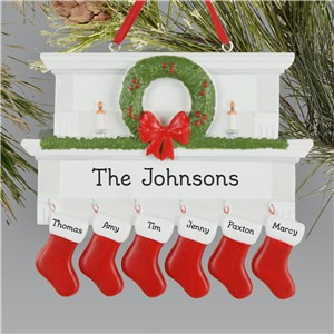 Personalized Mantle With Stockings Family Ornament L13607256X