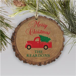 Red Truck Merry Christmas Or Happy Holidays Rustic Personalized Ornament | Personalized Ornaments