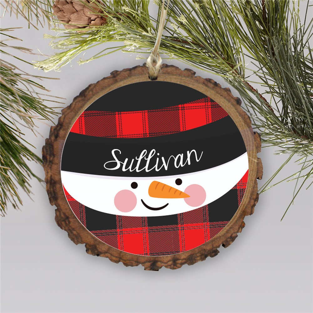 Personalized Buffalo Plaid Snowman Barky Ornament L13741166