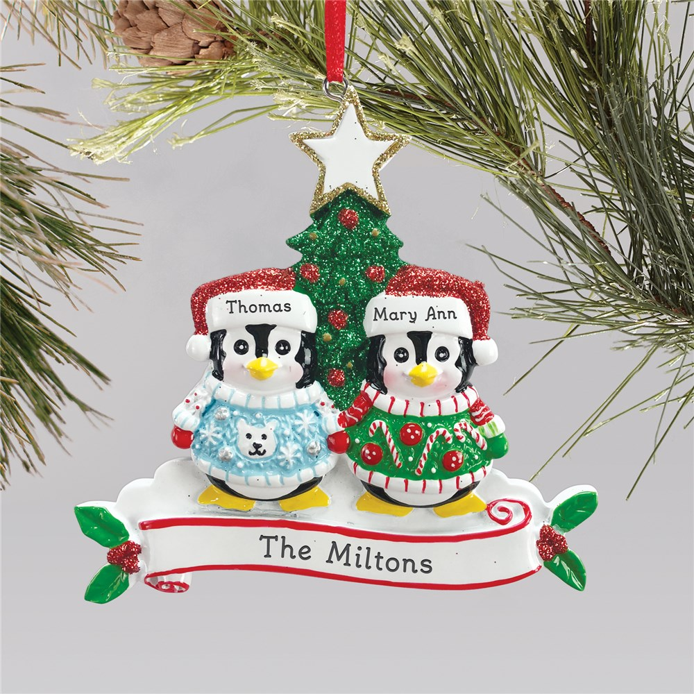 Penguin Family Ornament | Personalized Ugly Sweater Ornament