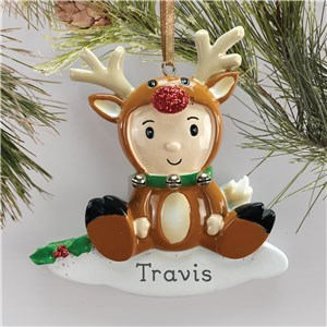 Personalized Reindeer Baby Holiday Ornament