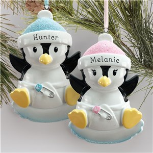 Personalized Penguin Baby Ornament L13787229X