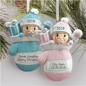 Personalized Baby Mitten Ornament L13788230X