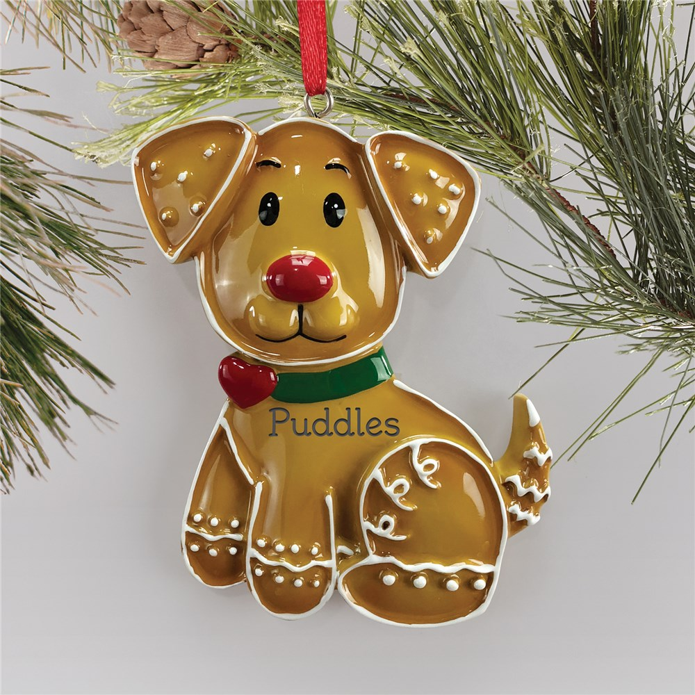 Gingerbread Dog Ornament | Personalized Christmas Dog Ornament