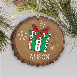 Personalized Present Wood Ornament | Rustic Present Ornament with Snowflakes