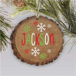 Personalized Wood Ornament with Name | Rustic Ornament with Snowflakes