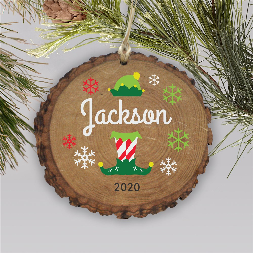 Elf Barky Ornament | Personalized Rustic Elf Ornament