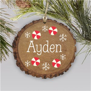 Personalized Peppermint Wood Ornament | Rustic Peppermint Ornament with Snowflakes