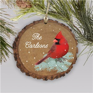 Cardinal Wood Ornament | Personalized Rustic Cardinal Ornament