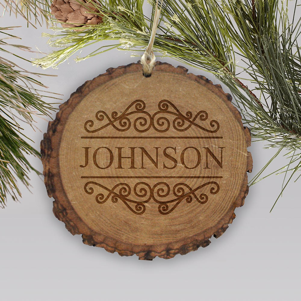 Wood Ornament with Family Name | Rustic Family Wood Ornament