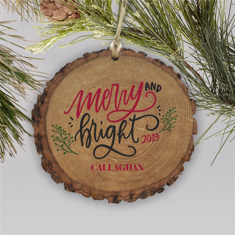 Merry and Bright Wood Ornament | Personalized Merry and Bright Rustic Ornament