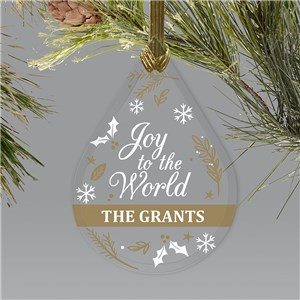 Joy To The World Glass Ornament | Personalized Teardrop Ornament