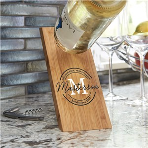 Personalized Wine Bottle Holder } Wood Balancing Bottle Holder