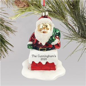 Personalized Chimney Ornament  | Personalized Glass Santa Ornament