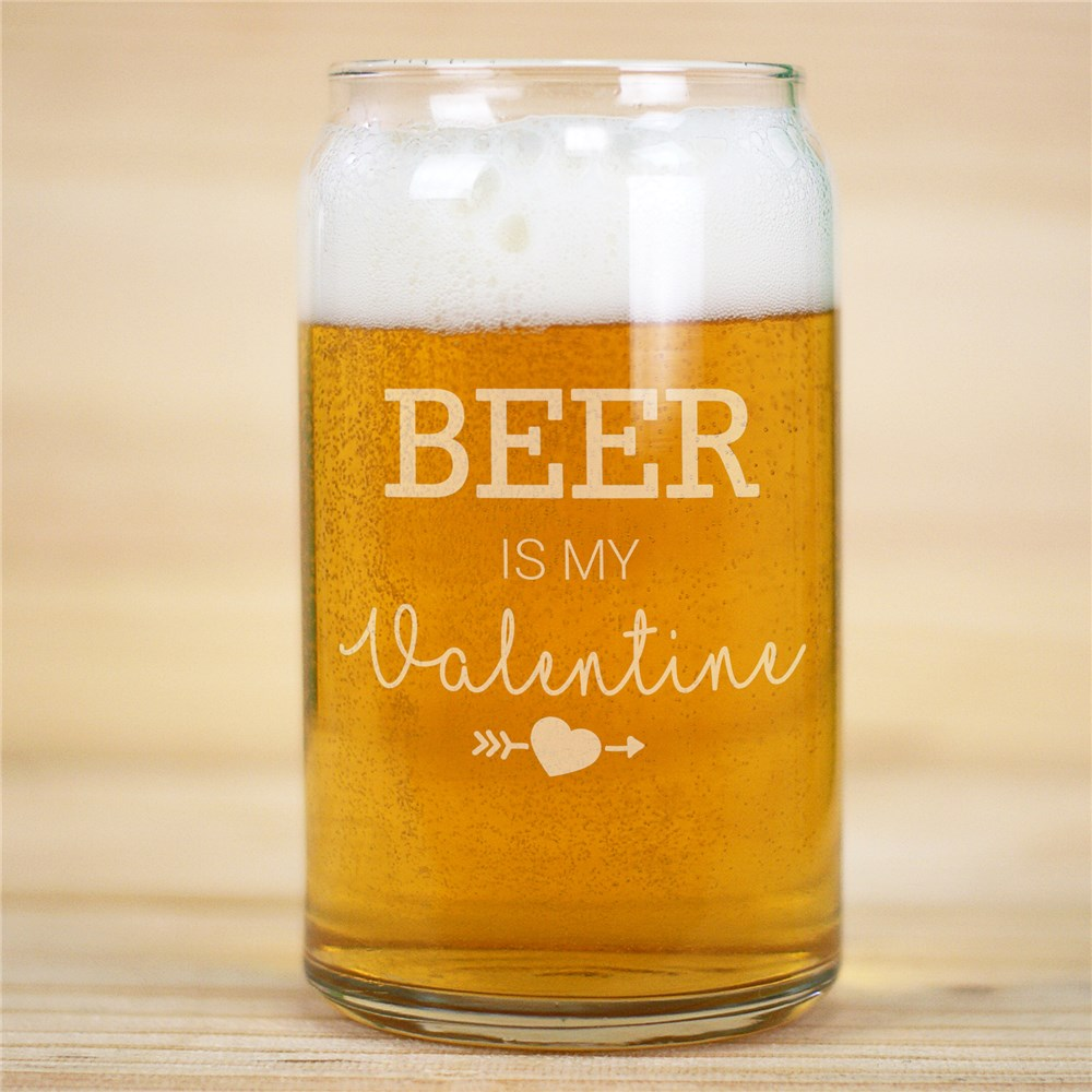 Personalized Glass Beer Can | Beer Is My Valentine Gifts