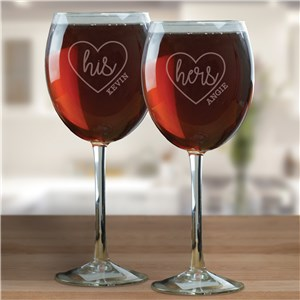 Red Wine Glass Set | Engraved Wine Glass Set