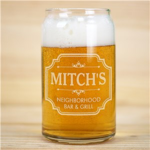 Engraved Neighborhood Bar And Grill Beer Can Glass L14511118