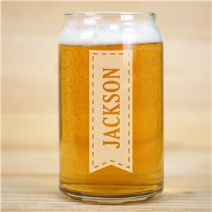 Personalized Name In Banner Beer Can Glass L14548118