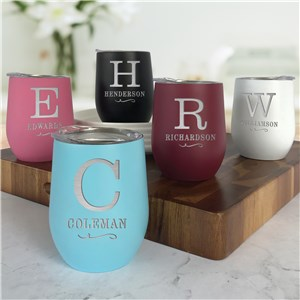 Engraved Stemless Wine Tumbler | Initial Wine Cups