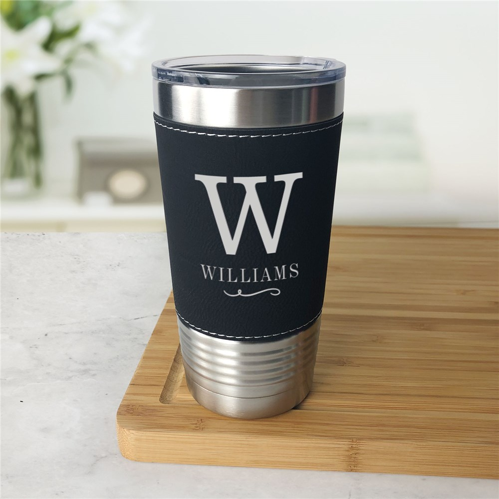 Engraved Leather Wrapped Tumbler | Personalized Faux Leather Tumbler