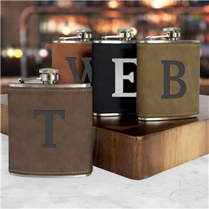 Engraved Flask | Faux Leather Flask