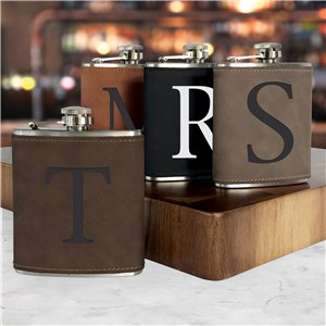 Engraved Initial Only Leatherette Flask L14784281X