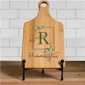 Personalized Leafy Square Border Paddle Cutting Board L14790188