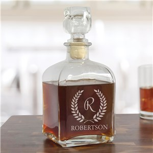 Engraved Glass Decanters | Wreath Design Personalized Gifts