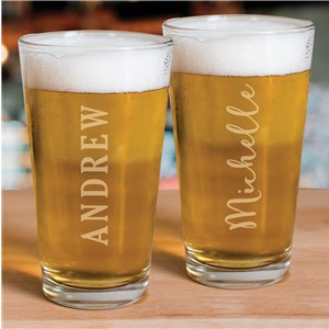 Personalized Barware | Engraved Pint Glass With Name